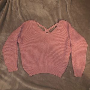 Cropped pink sweater